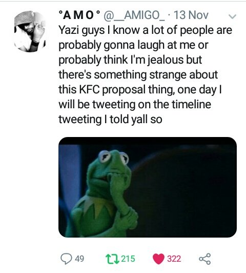 You see When people of tweet tell you something is wrong or strange you must believe them when they tell you  #KFCProposal <br>http://pic.twitter.com/ETPRW3MDCE