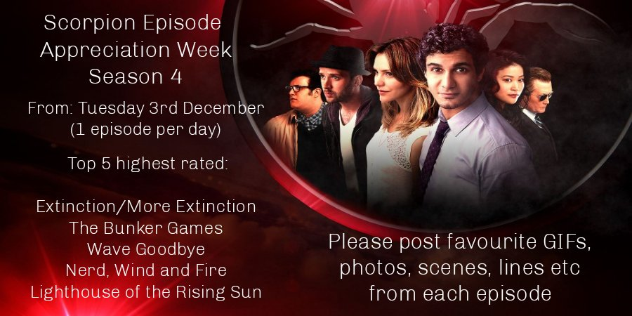 #TeamScorpion  TODAY is day 3 of The Top 5 Episodes Of Season 4 Appreciation Week,  Wave Goodbye Day! Tweet about why you love it, what it means to you! Use  Pics, GIFs and text to share your memories! And tag CBS, Viacom, and  Amazon Studios! RT this please! #SaveScorpion<br>http://pic.twitter.com/YPewm9Cyfk