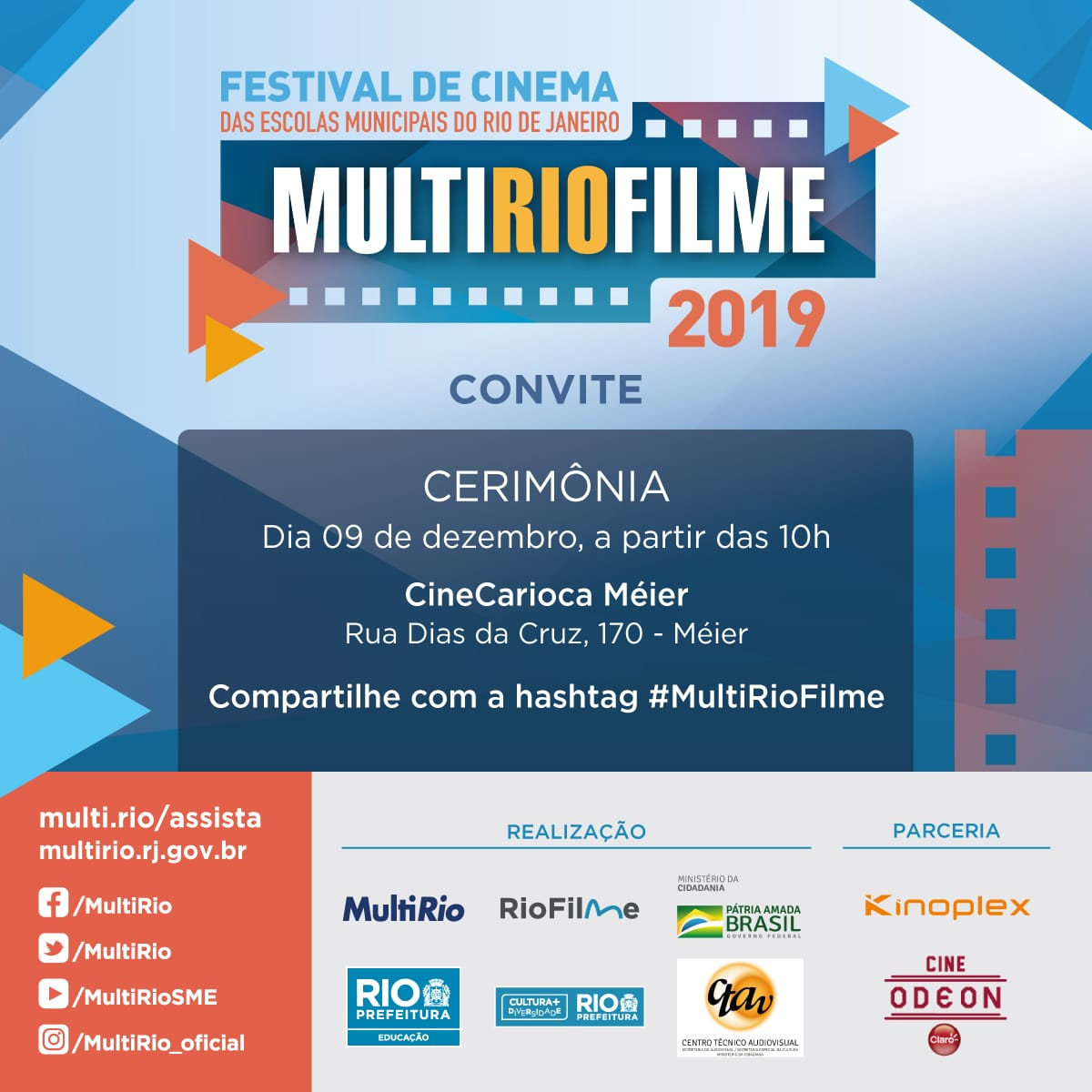 Teremos a premiação dos vencedores de cada categoria do Festival MultiRioFilme 2019 na segunda-feira. Não perca.  #Cultura #Educação #FestivaldeCinema #MultiRioFilme #Escolas #Premiação