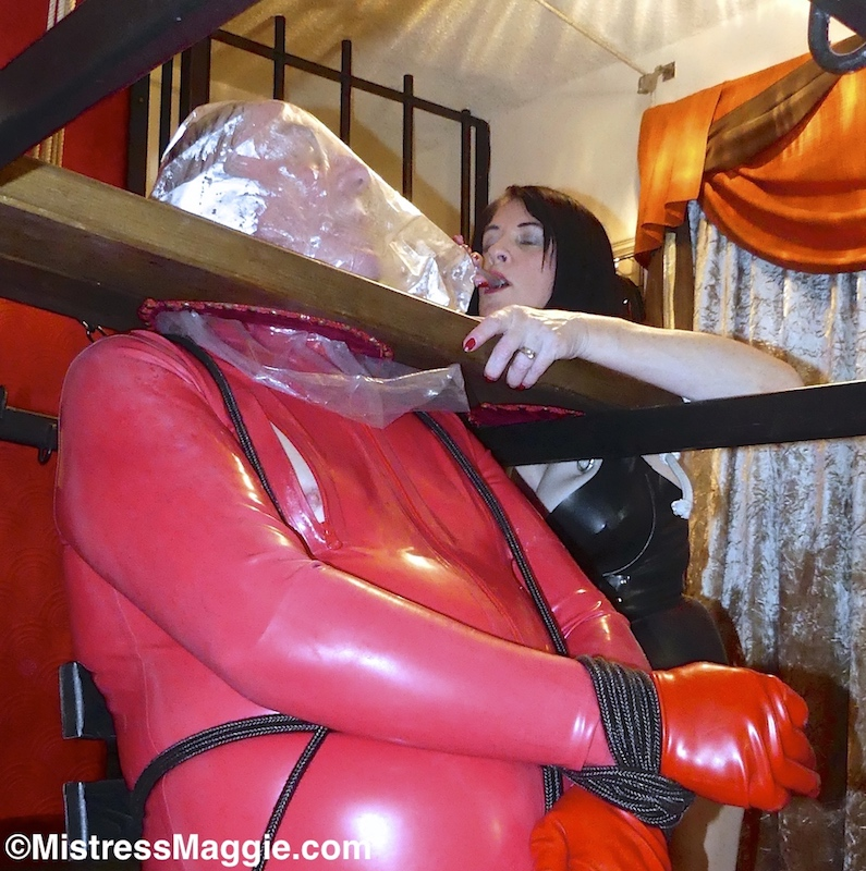 My rubber slave keeps a diary.  His latest entry - STILL A LONG WAY TO GO, tells of his extensive plastic bag #breathplay, how he's tied for torment with #nippleclamps, then drinks up the piss of his #rubbermistress    📽️A clip of the breathplay is included