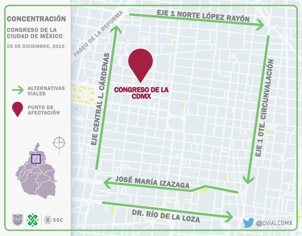 13:07 #PrecauciónVial manifestantes procedentes de Tacuba y Xicohténcatl arriban a Donceles a la altura de Allende. Aquí #AlternativaVial