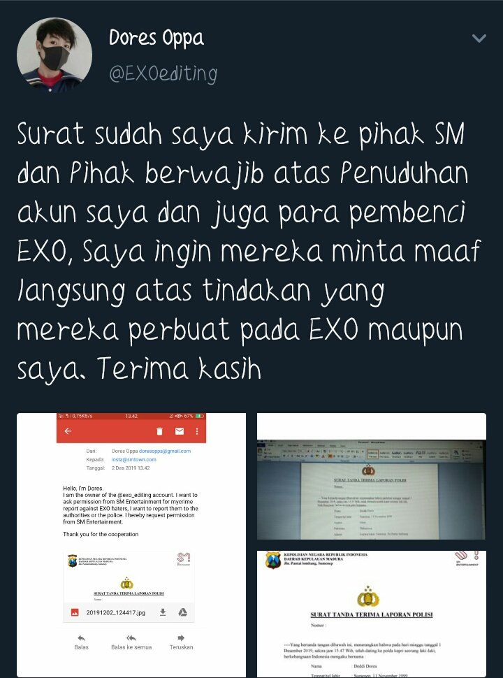 "I have a good laugh for y'all. So it says ""I have sent a letter to the SM and the authorities on the accusation of my account and also the haters of E*o, I want them to apologize directly for the actions they have done to both E*o and me. thank you"" Do y'all hear sumn? ( ͡°❥ ͡°) <br>http://pic.twitter.com/HUQH2JSVki"