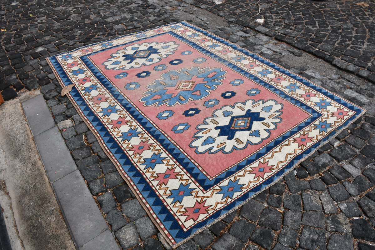 Excited to share the latest addition to my #etsy shop: Free Shipping 5.6' x 7.6',Handicraft Rug SN-2369  #housewares #blue #cotton #runner #bohemianeclectic #oriental #white #rectangle #vintagerugs