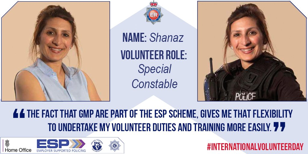 Shanaz is an Operational Support Officer and also a Special Constable. GMP allow newly appointed Special Constables that are police staff members an additional 9 days Employer Supported Policing leave for the initial personal safety training. #InternationalVolunteerDay
