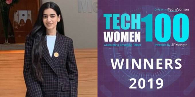 On #GraceHoppers Birthday congratulations to Cyber Security Analyst, Sunaina Aytan @AytanSunaina sharing the message far and wide that women can thrive in #STEM 🙌🏼 ✅ Shout out to all the amazing #TechWomen100 Winners 2019! w/@WATC_WeAreTech #WomenInSTEM