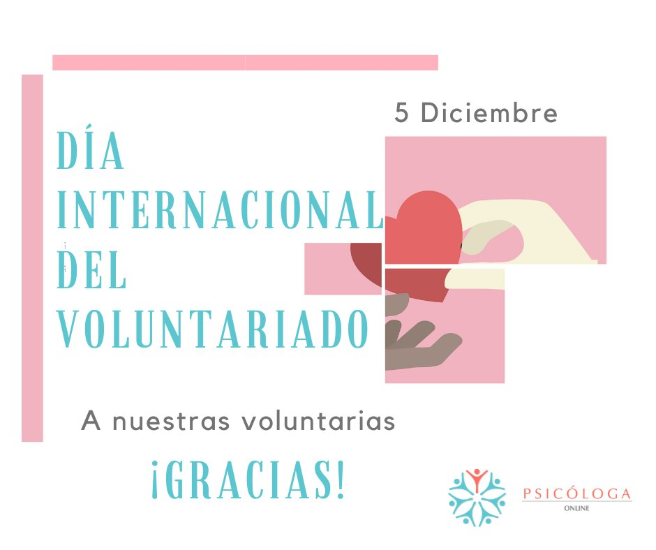 5 Diciembre Día internacional del voluntariado. #volunteersday #DiaDelVoluntariado #Psicología