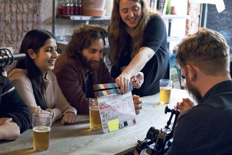 Take a look at these great #behindthescenes photos captured by Andy Clift on the Thirst Films ad shoot for @yeastieboys.   #filmcrew #clappedboard #runner #supportingartist