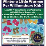 """Please help us """"Make Winter a Little Warmer"""" for our local school children! Our kiddos are in need of new hats, mittens, socks, and gloves! We have a collection box currently at Billsburg for your donations. We will be celebrating on Dec. 5th from 5-9 PM!"""
