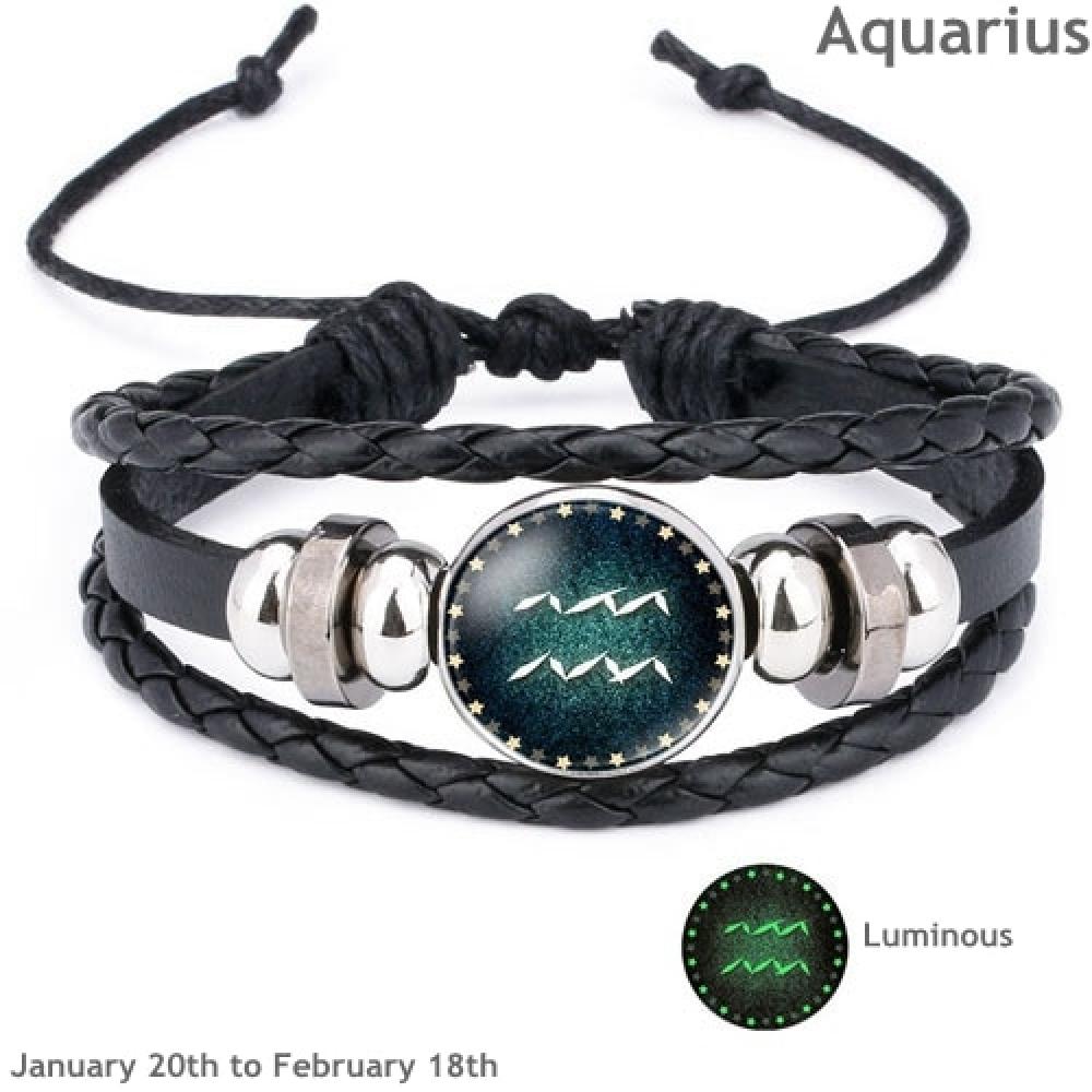 #glam #bracelet Luminous Zodiac Sign Leather Bracelet - Aquarius