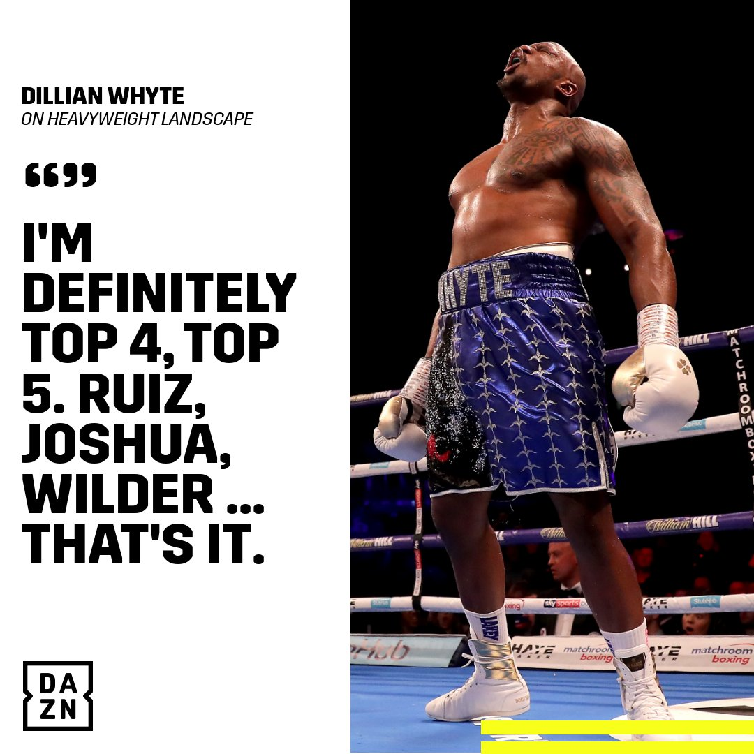 🗣 @DillianWhyte wants some respect on his name. #WatchOnDAZN