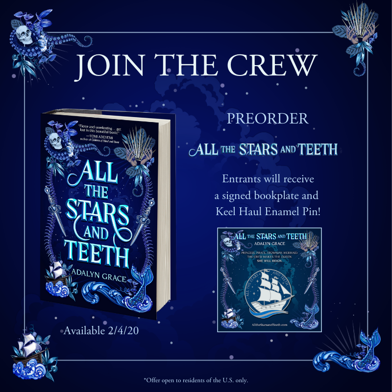 """""""Fierce and unrelenting... Do yourself a favor and get lost in this beautiful book!"""" —@tomi_adeyemi  Preorder ALL THE STARS AND TEETH by Adalyn Grace for a signed bookplate and an enamel pin of the ship, Keel Haul!  https://bit.ly/2KrsNf3?utm_campaign=meetedgar&utm_medium=social&utm_source=meetedgar.com…"""