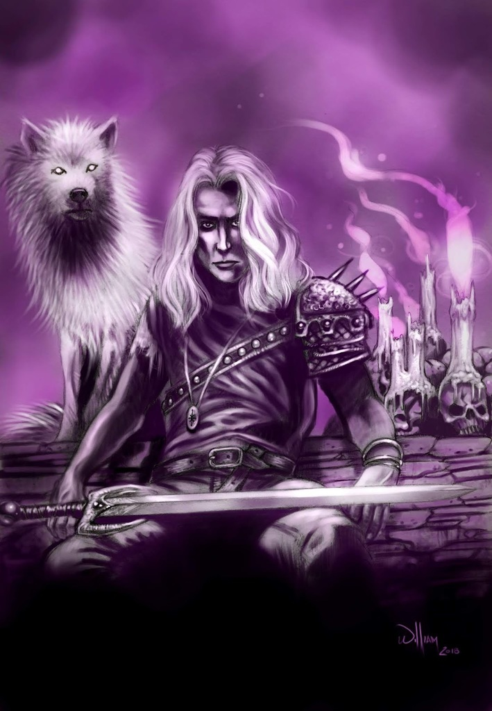 Two Wolves. One of my Fantasy art prints.  #Wolf #warrior #candles #skull #sword #fantasy #art #painting #purple #print
