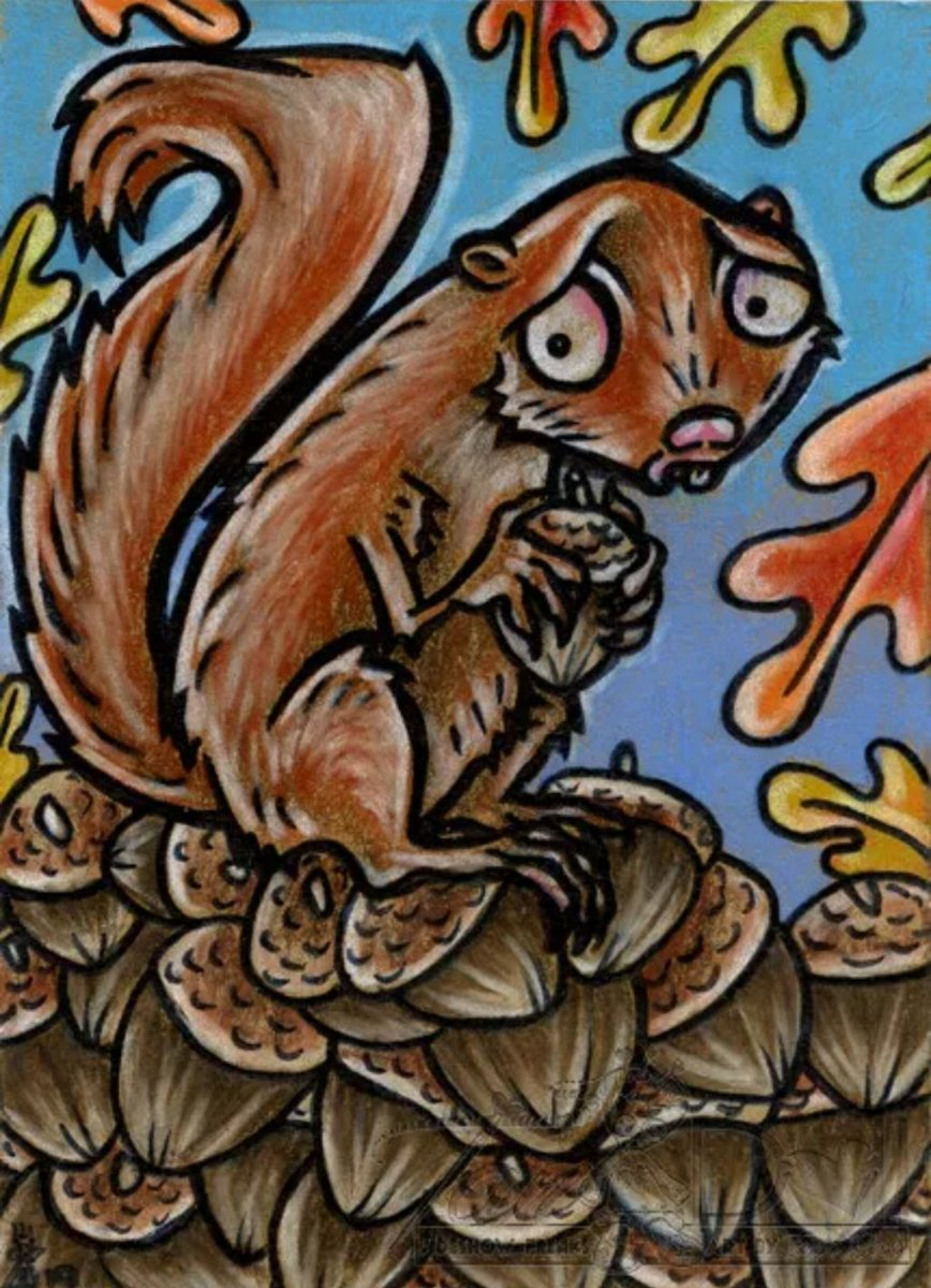 Did that wrong lol so #2 try: New #aceo #drawings are available in my #ebaystore at #tandollart #coloredpencil #atc #whimsicalanimals #squirrel #acorn #autumn #art #cartoon #cartoonist #cartoonsarelove #justtomakeyousmile