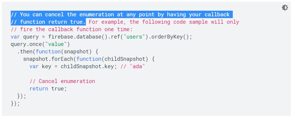 Último ejemplo de la documentación de Firebase