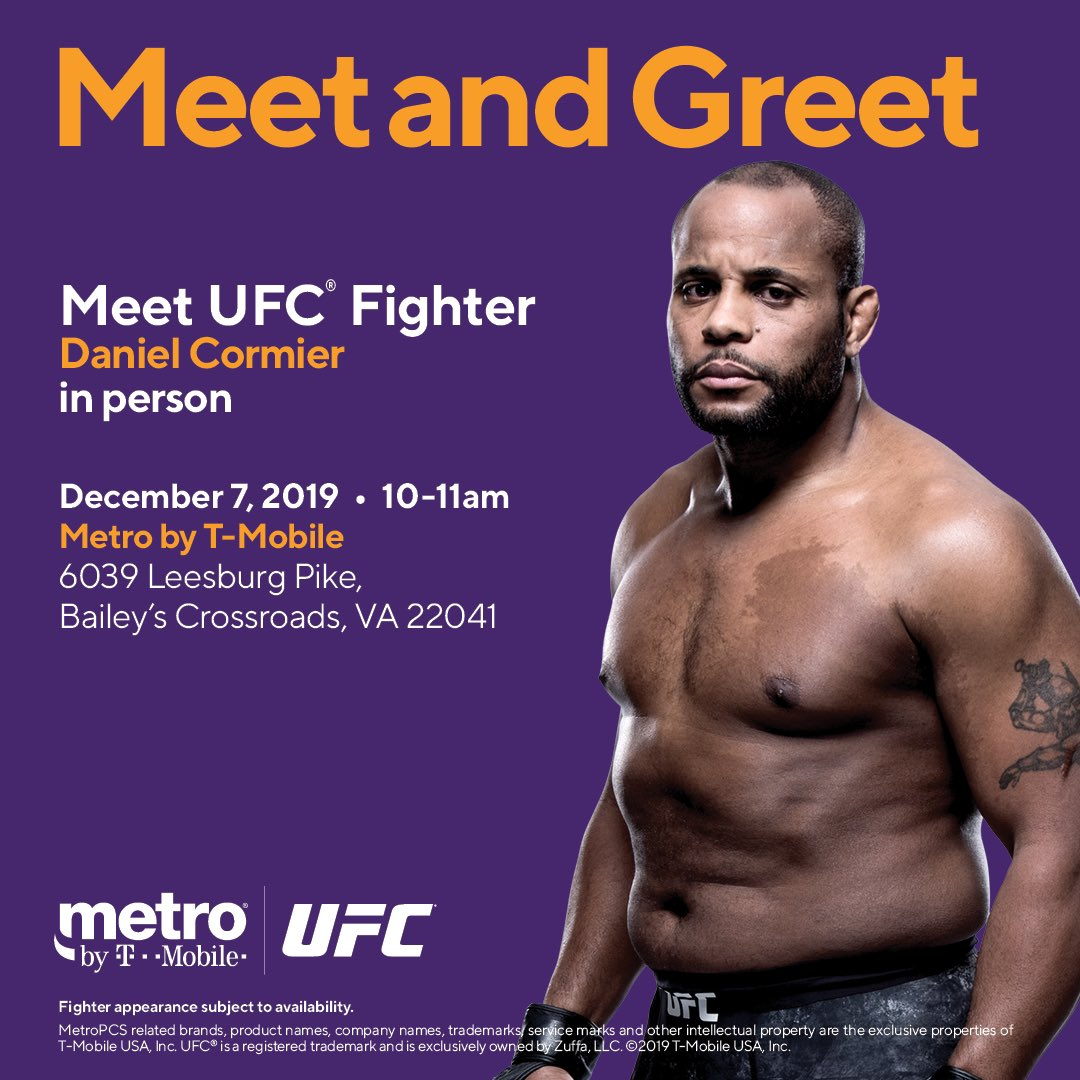 See you guys on Saturday at 10:00am at @MetroByTMobile (6039 Leesburg Pike, Bailey's Crossroads, VA)! Come by for your chance to win #UFCDC tickets!