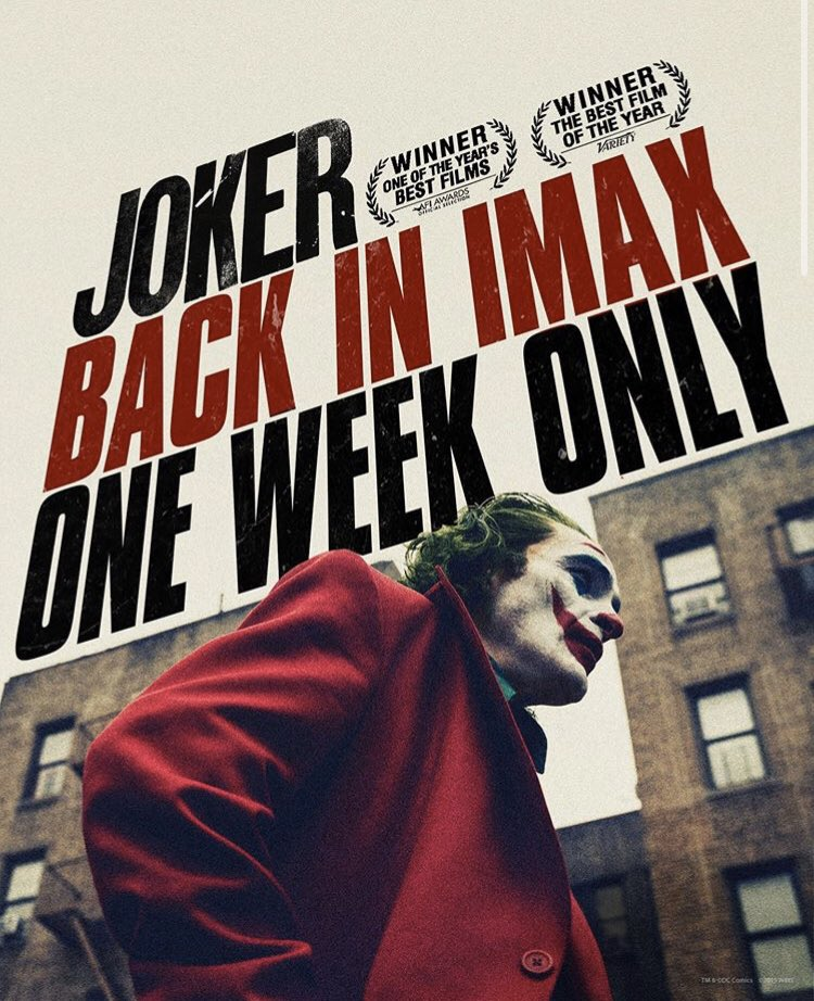 #NEW | Joker is back in IMAX, limited time only <br>http://pic.twitter.com/eXwSxYFMbS