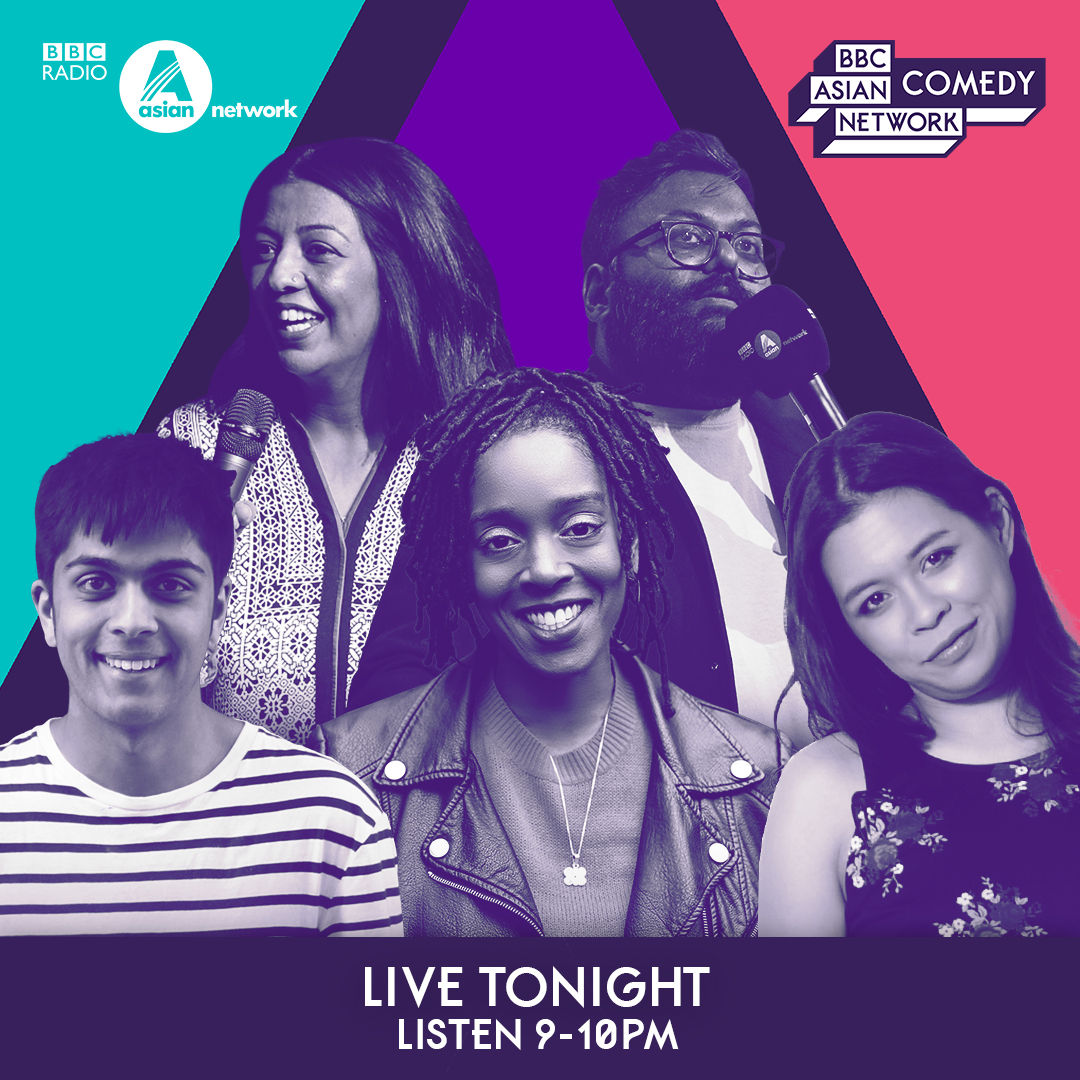 TONIGHT @helloyasser is hosting #ANComedy Live from London with ✨ @SunilDPatel ✨ @athenakugblenu ✨ @ismaalmas ✨ @rialina_ ✨ @Jamie_DSouza 🎧 Listen 9-10pm on @bbcasiannetwork and @BBCSounds
