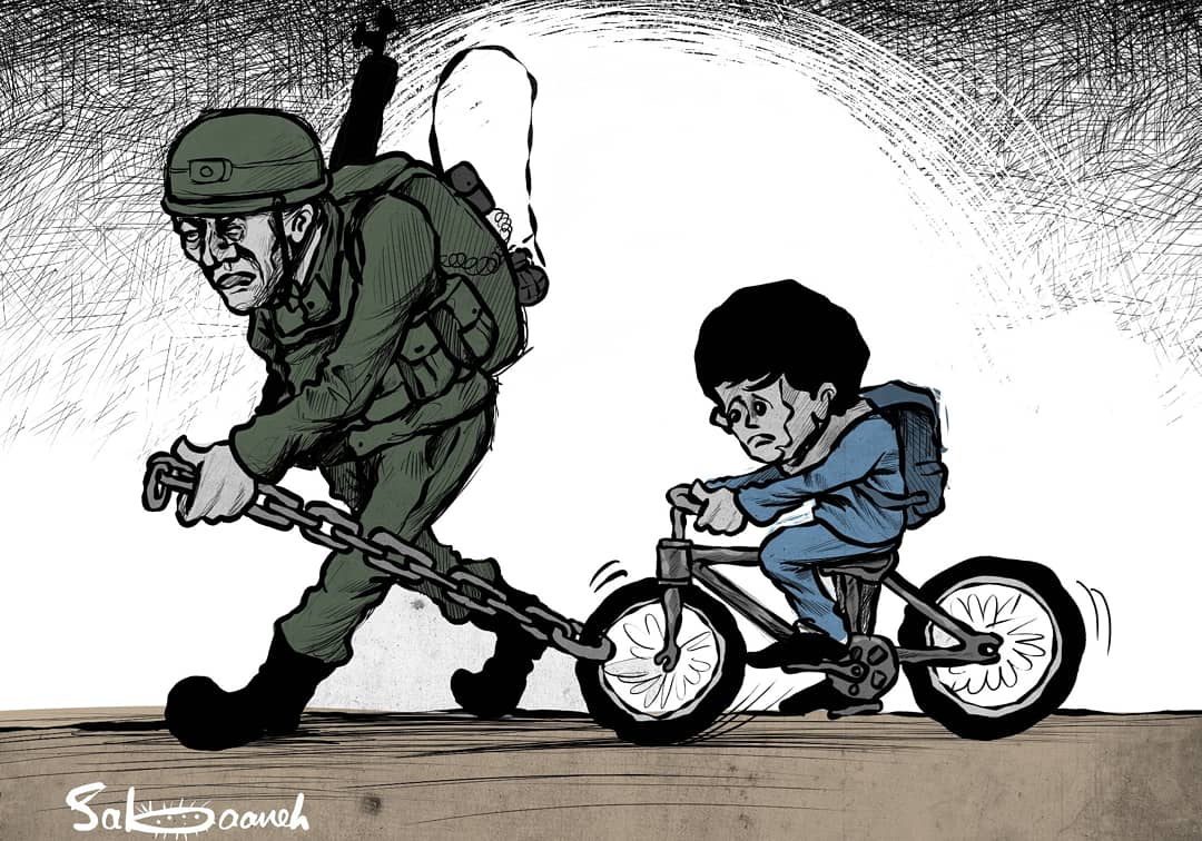 The #cartoon is a kind of exaggeration or surreal scene but In #Palestine, it is enough to depict the life of the #Palestinians to reach the extreme exaggeration. The #israeli brutality and the #Palestinians resilience create the surrealist scene.