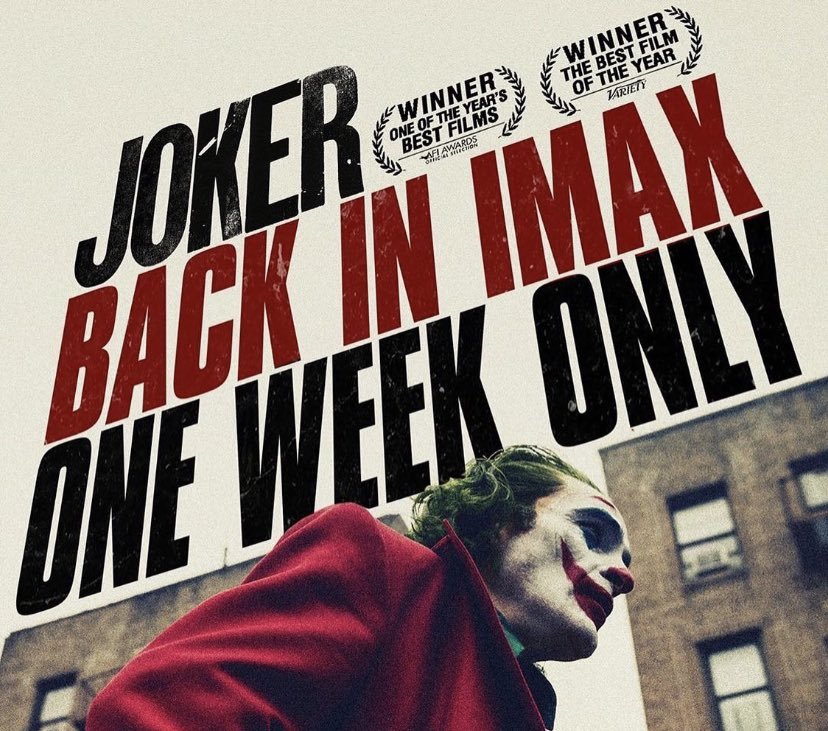 Catch #JokerMovie back in Imax for one week only, starting Dec 6th!  <br>http://pic.twitter.com/z4qgQSaqrQ