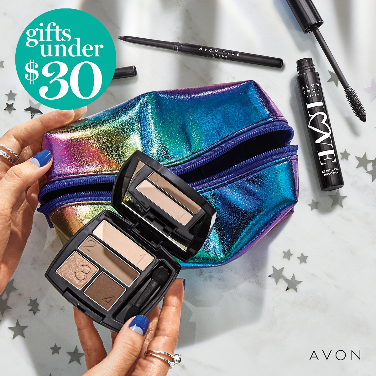 """The """"All Eyes on Me Giftset"""" is Only 22.00 for this 4 piece Giftset !  You get a #Rainbow #makeupbag #mascara #eyeliner #Eyeshadow in #Mocha #Latte.  Check it out here @"""