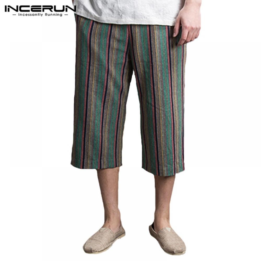 #design #sale INCERUN Summer Casual Striped Pants Men Loose Vintage Ethnic Style Elastic Waist Joggers Men Pants Calf-length Trousers Men 2019