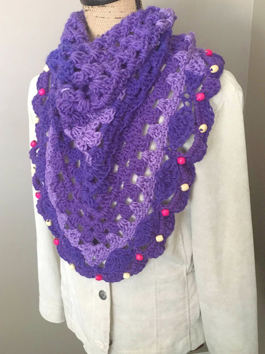 Excited to share this from my #etsy shop: Purple Acrylic Bandanna Scarf with Beads, Crocheted Scarf with Beads, Purple Neck Warmer, BoHo Scarf with Beads  #accessories #scarf #purple #bohohippie #bandannascarf