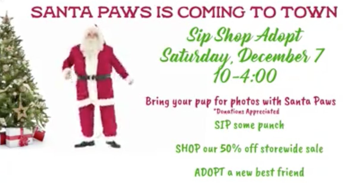 Don't miss #SipShopAdopt at #HPAThrift this Saturday for pet photos with #Santa! (And of course, delicious punch, storewide discounts & adoptable pets!) 10am-4pm, 2532 Nottingham! #houstonpetsalivethrift #houston #photoswithsanta #sale #holidays #houstonpetsalive #adoptdontshop
