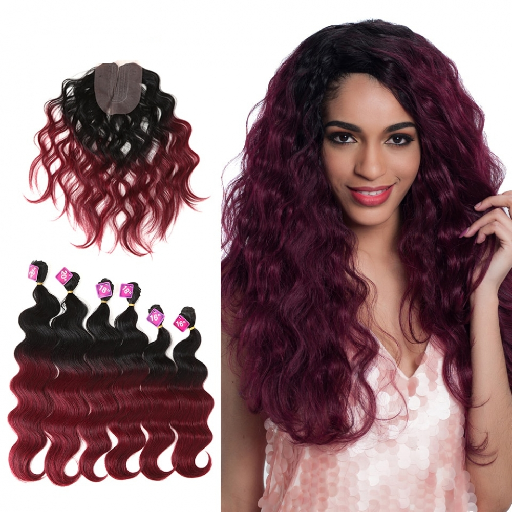 #sale #girls Ombre Body Wave Synthetic Hair Extensions 7 pcs Set