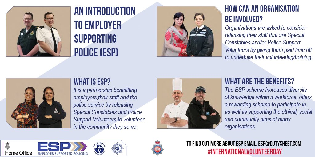 Happy #InternationalVolunteerDay  Find out more about Employer Supporting Police and how an organisation can be involved, as well as what the benefits are.