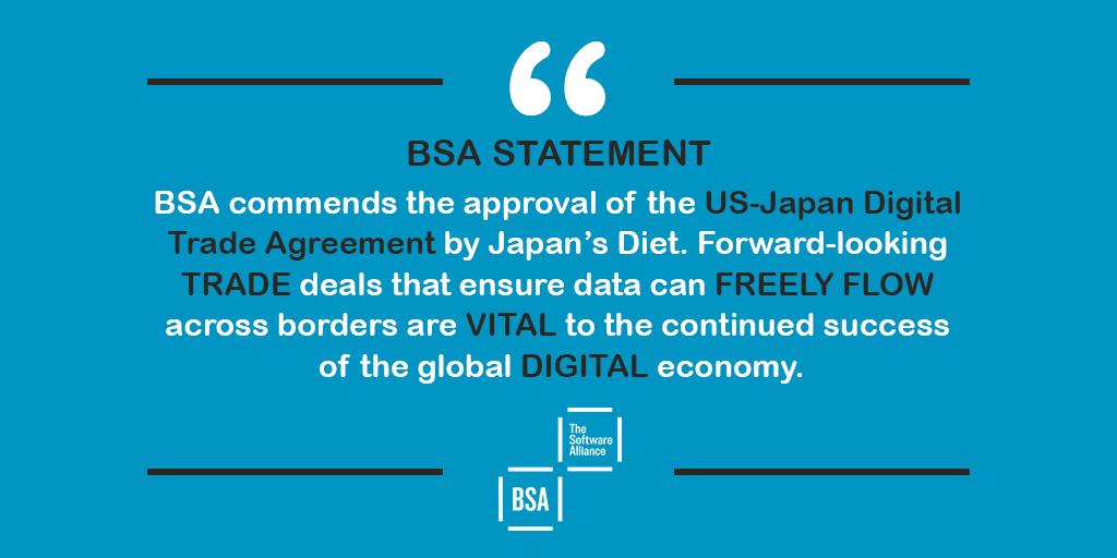 BSA applauds Japan for taking a step forward on #digital trade and urges other countries to implement smart, modern #trade agreements.