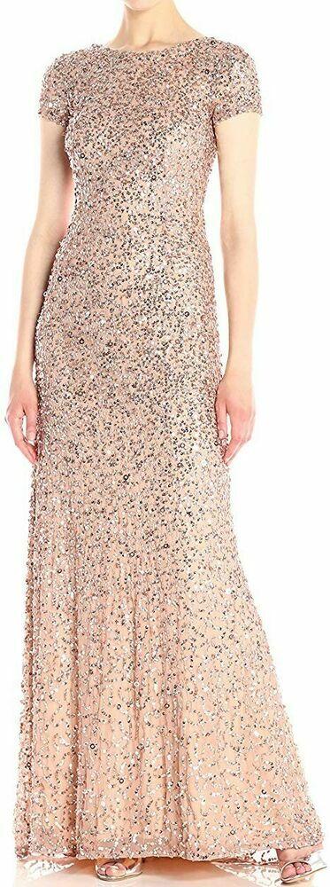 Adrianna Papell Women's Dress Pink US Size 6 Gown Sequin Embellished $280 #759  #fashiondesigner #onlineshopping #handmade #womenswear #womeninbiz #businesswear #smallbiz #dresscode #fashionblogger #moda #trending #fashion #ebay @ebay