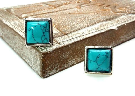 Turquoise Blue Magnesite Cufflinks – by #DesignedbyAudrey  Really Great men's #handmade jewelry and accessories.  Be unique!   via @Etsy
