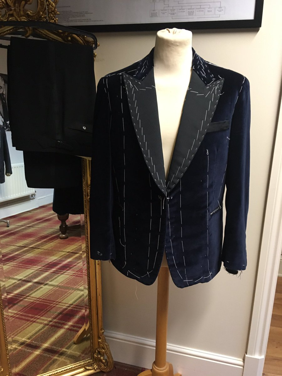 100% cotton velvet dinner jacket with pure silk linings, lapels and pockets. Trouser material is a wool and mohair mix with silk braid, all ready for hand finishing tomorrow. #festiveseason #partytime #handmade #bespoke #tailoring