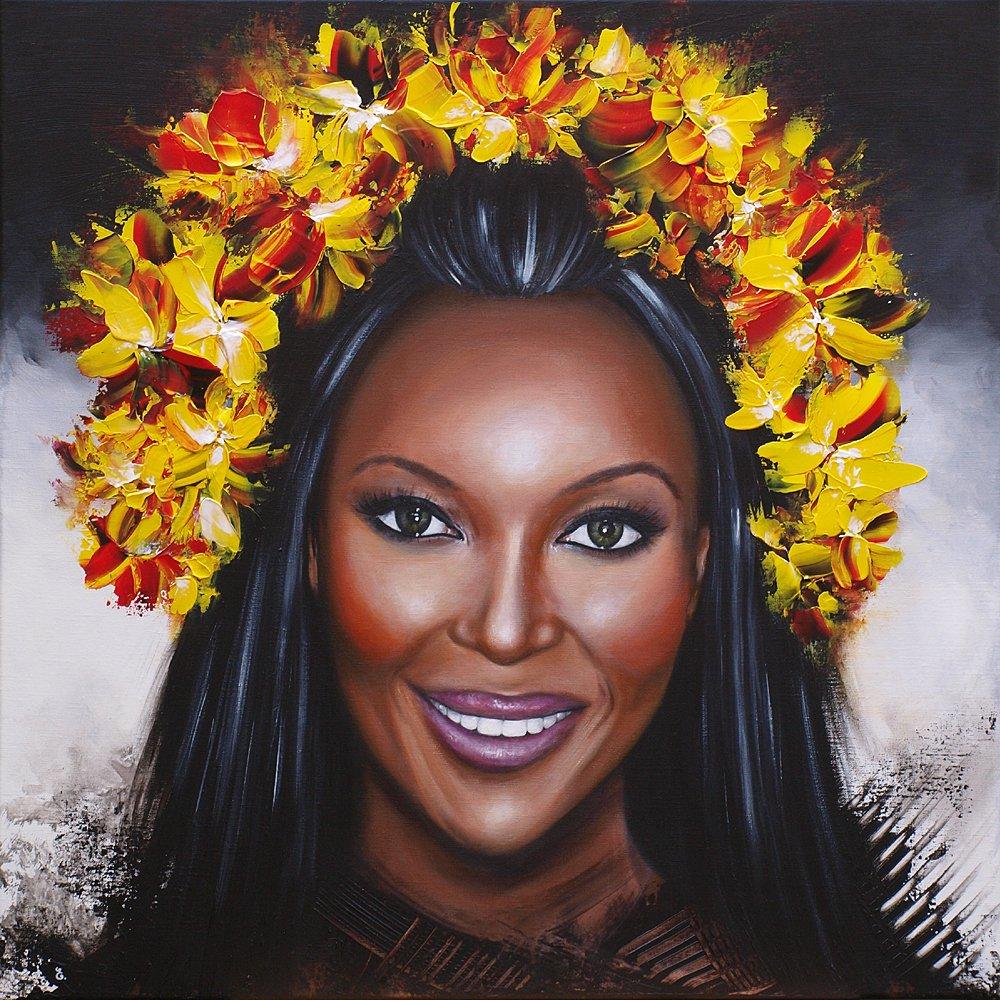 """Naomi"" - Acrylic on canvas - 80 x 80 cm #naomicampbell #painting #contemporaryart #artcontemporain #femme #woman #peinture #art #portrait #icon #celebrity #fashion #model #glam #luxury #frenchart #fineart #femalepower #femaleportrait #mode #womenstyle #womenartists #blackwomen"