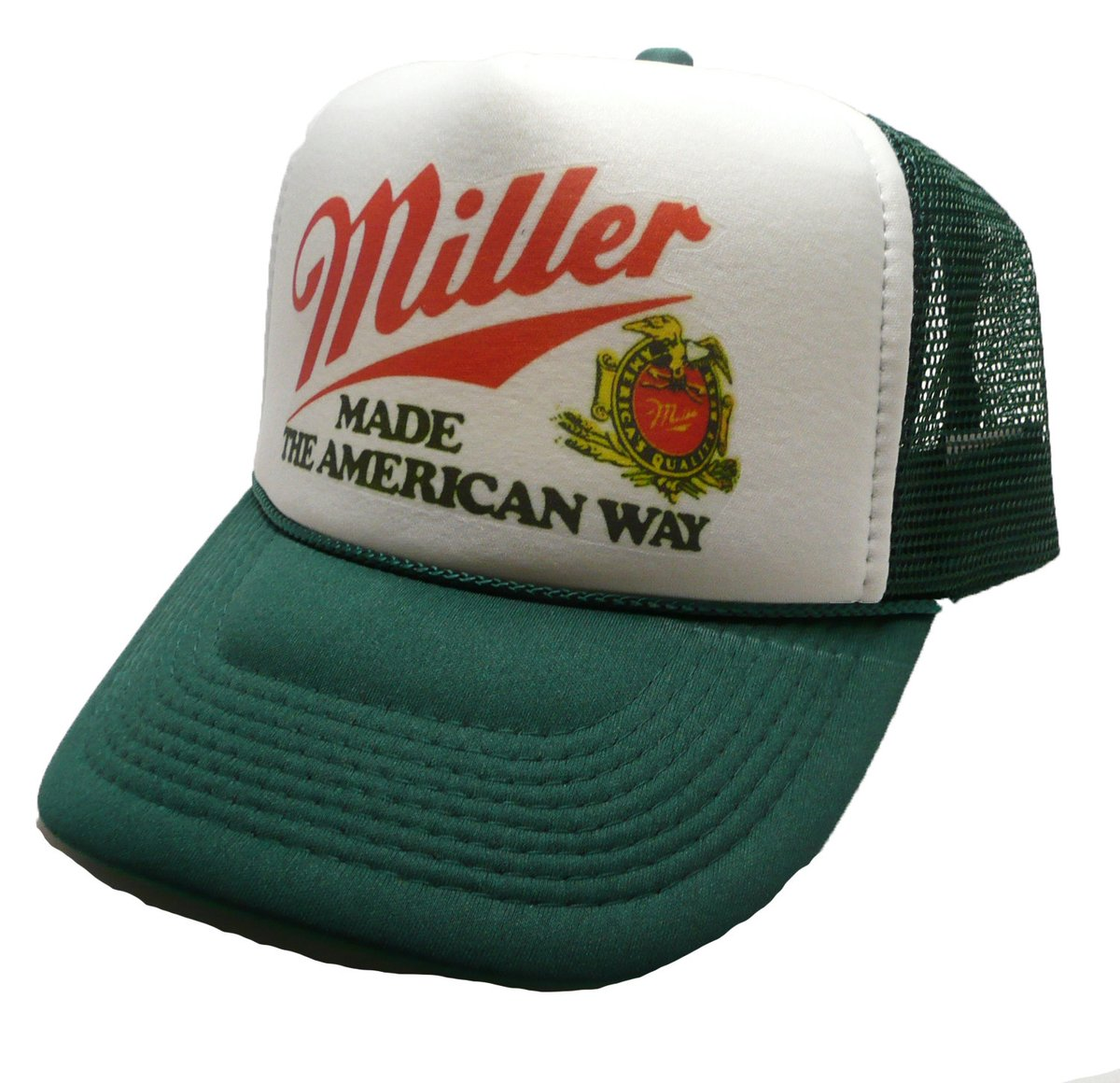 Excited to share the latest addition to my #etsy shop: Miller Beer Trucker Hat mesh hat snap back hat Dark Green new adjustable Made the American way  #accessories #hat #green #white #bachelorparty #christmas #rocker #millerbeerhat #millerbeer