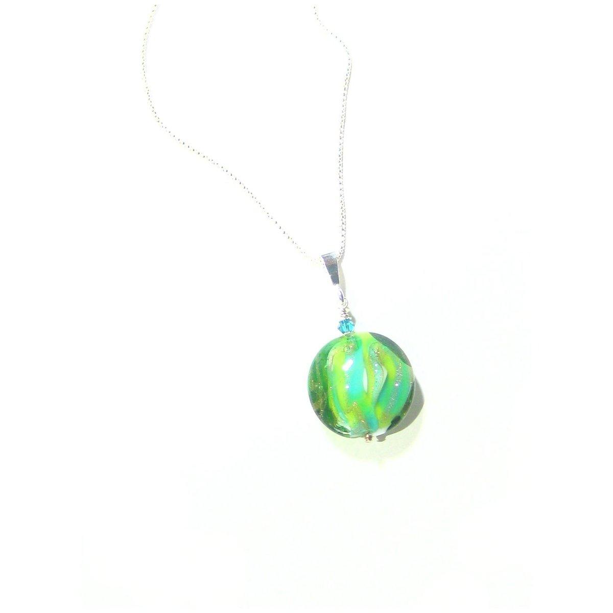 Murano Glass Colorful Green Disc Pendant Necklace, Sterling Silver Italian Chain, 16 Inch, 18 Inch, Gift Idea, 20 Inch Chain  #Murano #jewelryaddict #handmade #Etsymntt #birthdaygift #jewelry