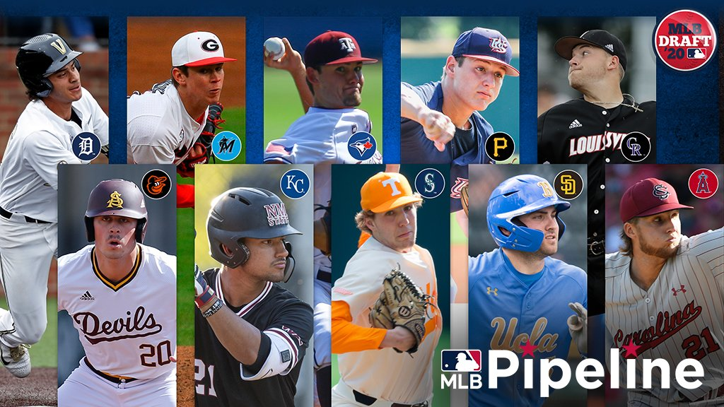 The first 10 picks of the 2020 #MLBDraft will go to the teams below. Who might they take? Here's @jimcallisMLBs mock: atmlb.com/2PdI9p5 #Tigers #Orioles #Marlins #Royals #BlueJays #Mariners #Pirates #Padres #Rockies #Angels