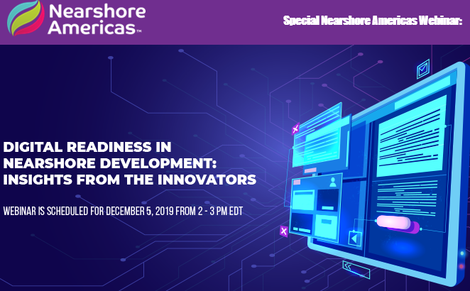 Join us TODAY at 2:00pm EST to watch Nearshore Americas webinar: 'Digital Readiness in Nearshore Development: The Real Story'. Learn new tips and get insight from expert panelist Neil Chamness, VP of Corporate Operations CA Fortune S&M.  http:// bit.ly/385ZQiN    <br>http://pic.twitter.com/oXAuuNvaI0