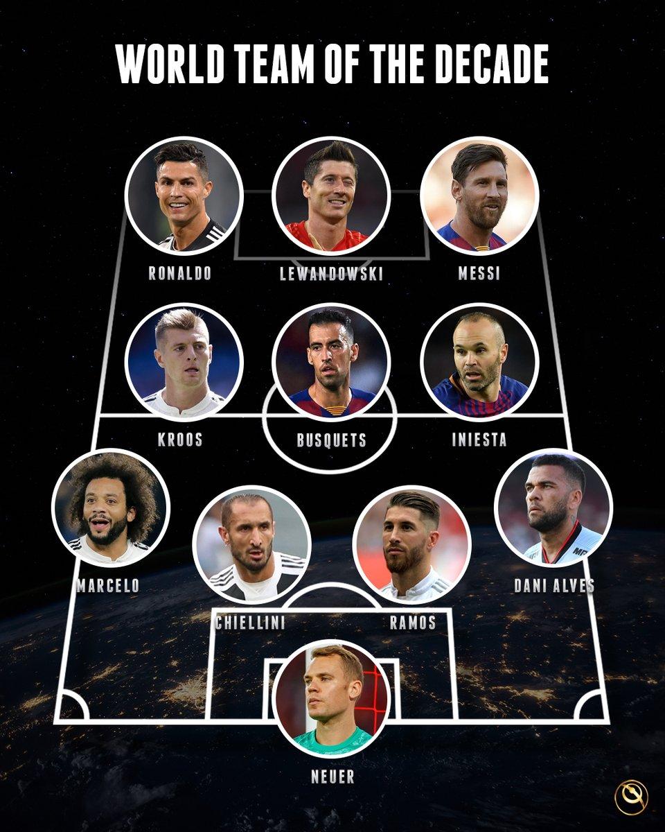 World Team of the decade  What would you change      #Lineup  #Cristiano  #Messi   #RL9  #Lewandowski  #Kroos  #Busquets  #Iniesta  #Marcelo  #Chiellini  #SergioRamos  #DaniAlves  #Neuer  #CR7