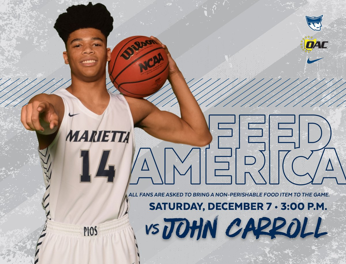 Huge OAC matchup Saturday vs. John Carroll! We need the @MariettaManiacs out in full force! #PioNation https://t.co/6naXfwKKZ7