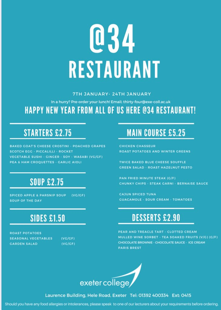The @34Restaurant January menu is now available. 👏 Phone bookings will remain available until December the 19th and will reopen on January the 7th. Online bookings can be made any time over the Christmas break 👉    #food #restaurant #menu #preorder
