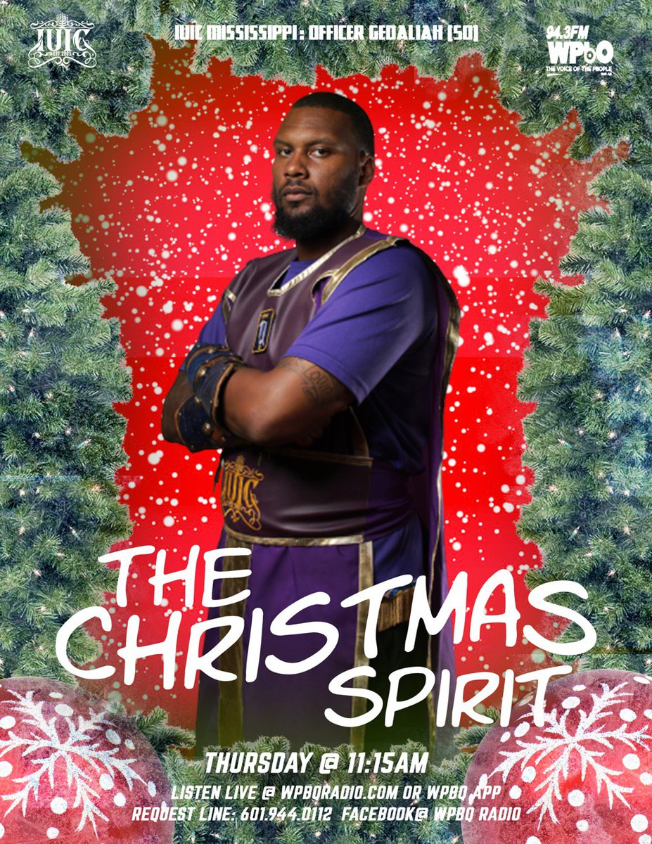 """Tune in today at 11:15 am CST on 94.3 FM WPBQ Radio. Officer Gedaliah will be discussing """"The Christmas Spirit""""   To watch it live head over to WPbQ Radio  #IUICMississippi #radio #christmas #holidays #journalist #live #God #bible #spirit."""