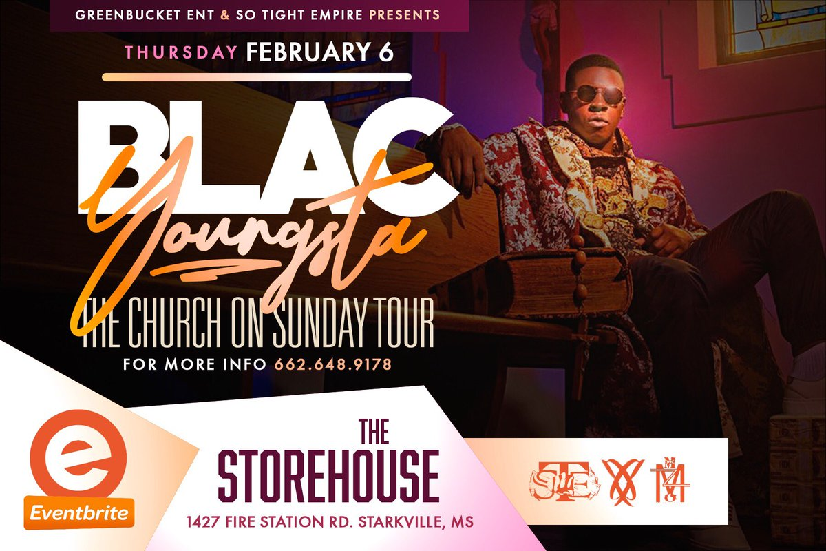🚨🚨🗣Feb. 6th 2020 #BlacYoungsta & #LilMigo will be performing #Live @ #TheStoreHouse in Starkville!!!  🎬🎬🎬 Early Bird Tickets ONLY $20 Availible on Eventbrite 🎫 Get yours today... Text 662-648-9178 for more info...  Powered by: @SoTightEmpire x @GreenBucketEnt