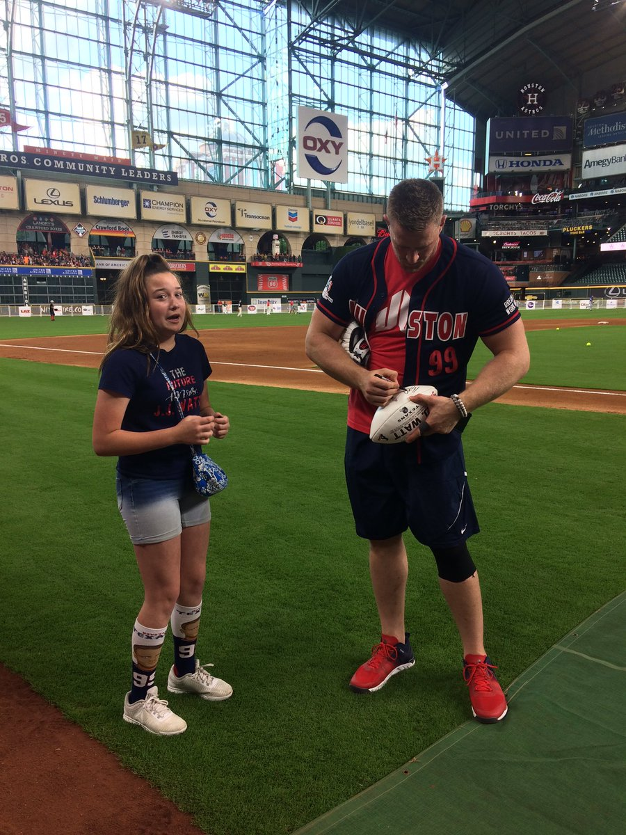 Got my tickets for the 2020 charity classic! Hopefully my daughter and I will be able to be on the field during the homerun derby again so she can get a better picture with @JJWatt! She was in total freak out mode last time!