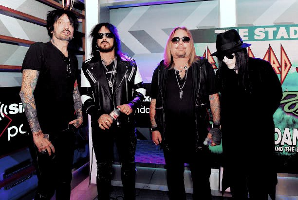 Mötley Crüe photographed at a press conference in Hollywood, California, announcing their 2020 Stadium Tour with Def Leppard and Poison, 4th December 2019. <br>http://pic.twitter.com/6h8SILT4Fa