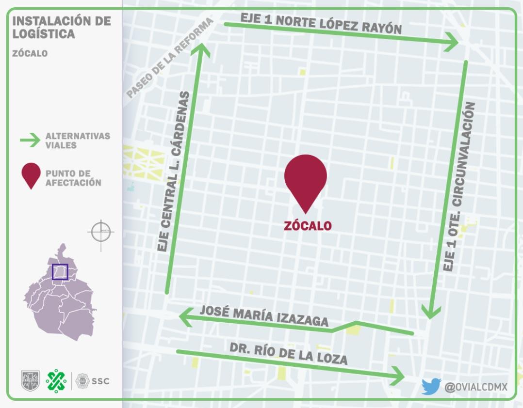 12:34 #PrecauciónVial cerrada la circulación en #PlazaDeLaConstitución de Corregidora hasta Monte de Piedad, por logística. Reversible de 20 de Noviembre a Tacuba. Aquí #AlternativaVial
