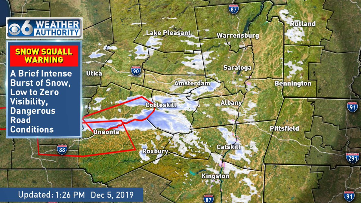 SNOW SQUALL WARNING for the area outline in red. Expect low to zero visibility in a brief heavy snow burst leading to a quick accumulation of snow resulting in dangerous road and travel conditions.