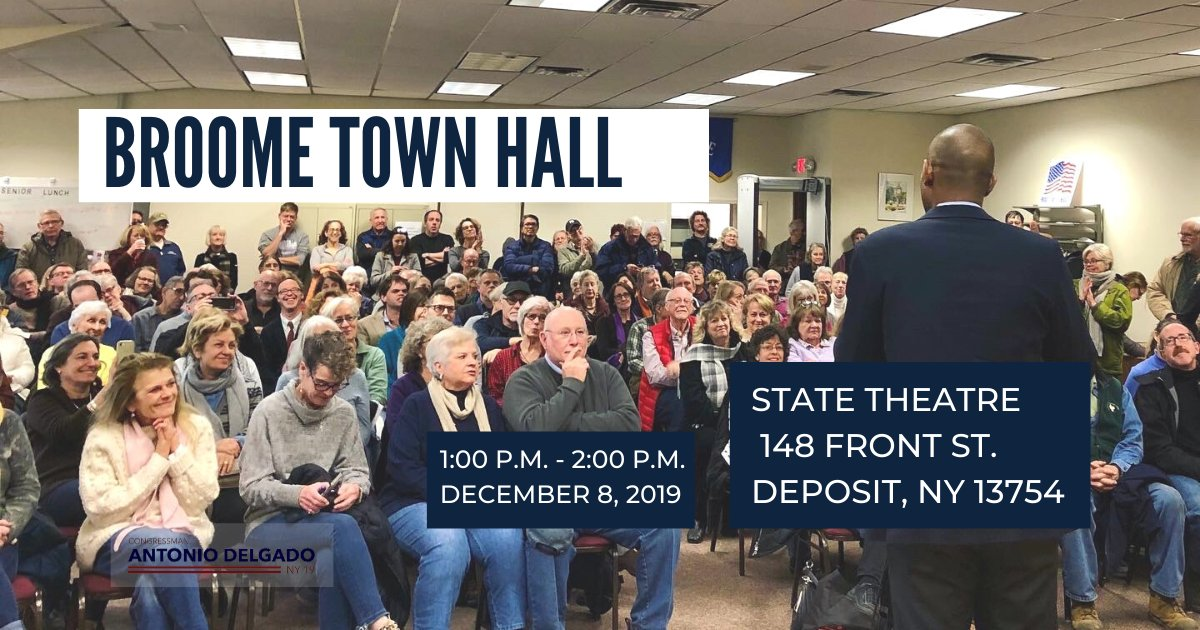 I'm holding my 31st town hall in #NY19 and 3rd town hall in Broome County this Sunday, December 8. Looking forward to hearing from folks. Details: delgado.house.gov/events/broome-…