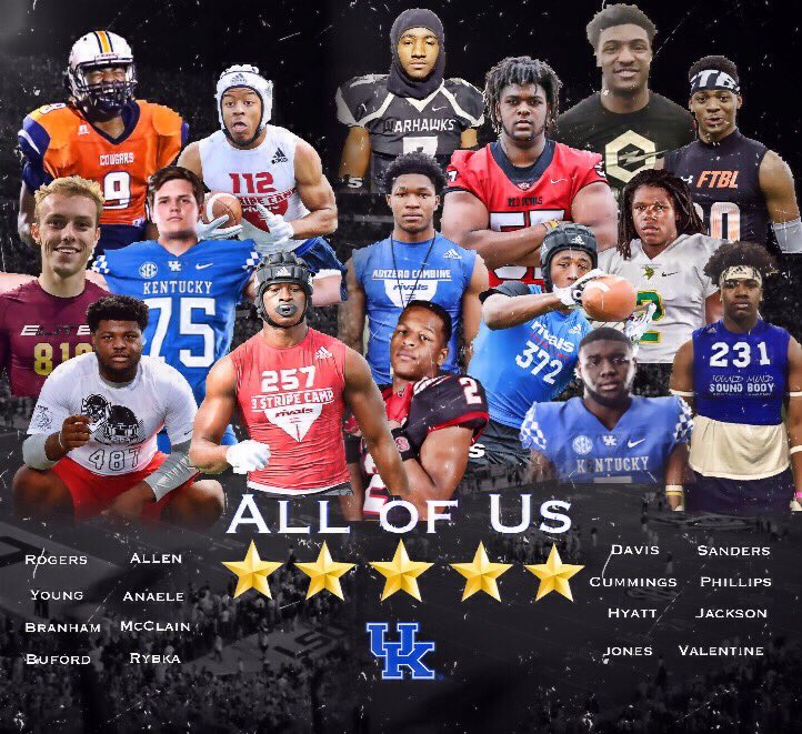 The current 2020 class. + Joey Gatewood and you're looking at the best recruiting class in Kentucky football history. #BBN #whosgotnext<br>http://pic.twitter.com/ghL2Nsu660