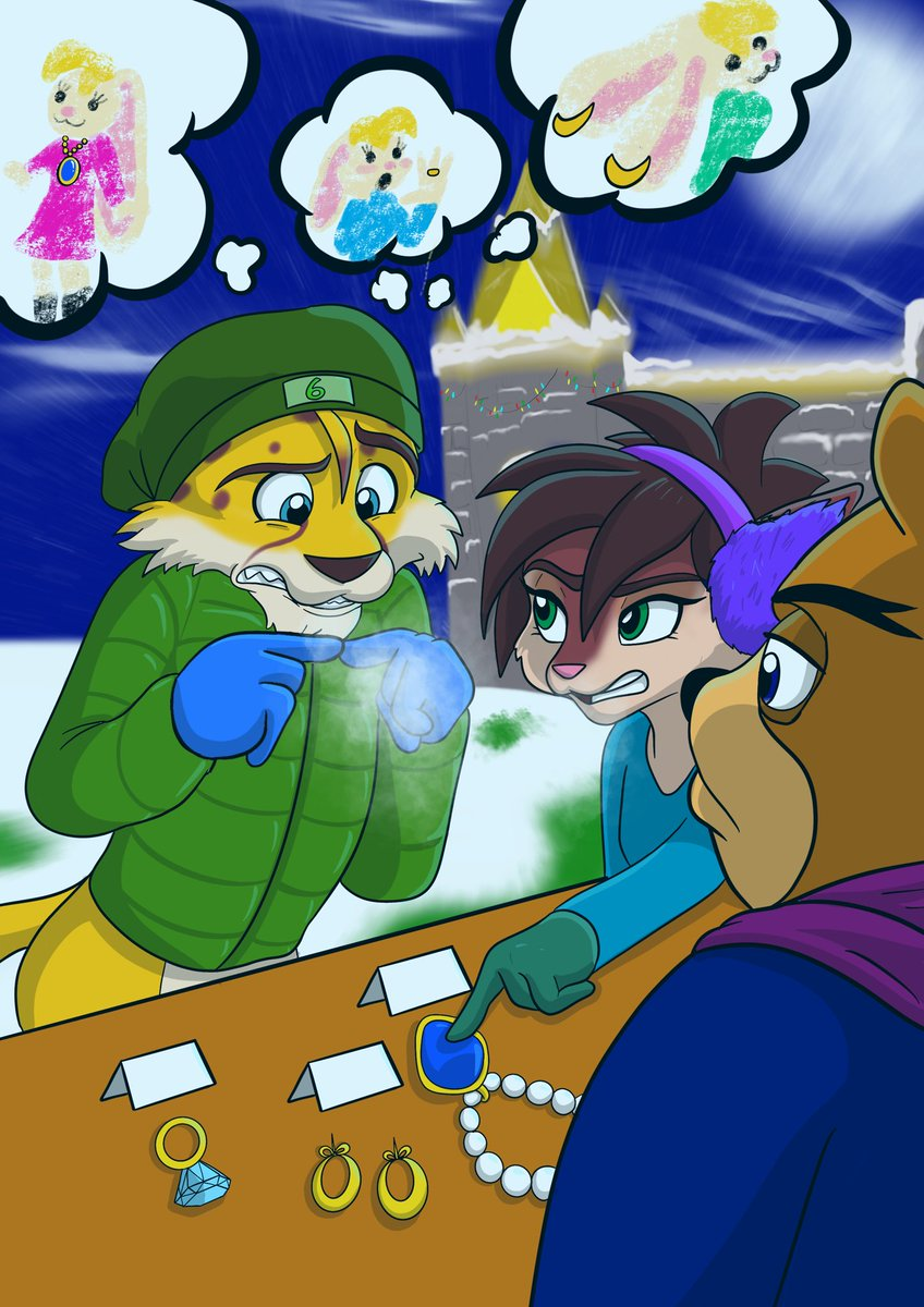 Day 6! We can all empathise with Hunter on this one, finding the perfect gift for that special someone isn't always easy! But remember, they'll love whatever you buy them! The day numbers are getting harder to spot  #FanArtAdventCalendar #Spyro #SpyroTheDragon  #Hunter #Bianca<br>http://pic.twitter.com/NNqJ0lOaoI